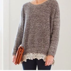 Anthropologie- Pins and Needles knit/lace sweater